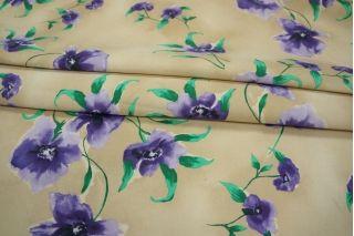 Репс хлопковый  со льном цветы КУПОН PRT-H7 14031909
