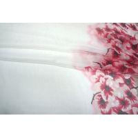 Батист хлопок с шелком цветы розовые бордюр PRT-B4 09021901