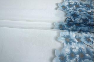 Батист хлопок с шелком цветы голубые бордюр PRT-B4 09021902