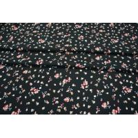 Креп вискозный цветочки на черном LEO-Z4 18021911