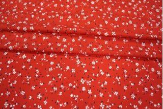 Штапель цветы на алом LEO-A6 18021920