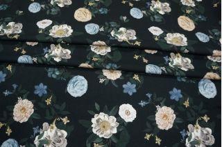 Твил вискозный плательный цветы на черном LEO-I7 26031909