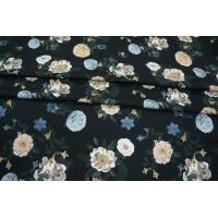 ОТРЕЗ 2,3 М Твил вискозный плательный цветы на черном LEO-I7 26031909-1