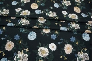 Твил вискозный плательный цветы на черном LEO-A7 26031909