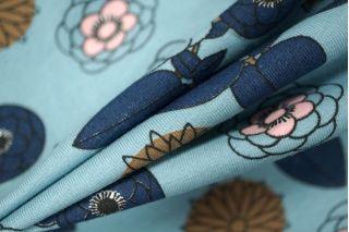 ОТРЕЗ 1.7 М Трикотаж хлопковый цветы на голубом PRT-D6-020 08021908-1