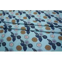 Трикотаж хлопковый цветы на голубом PRT-D2-020 08021908