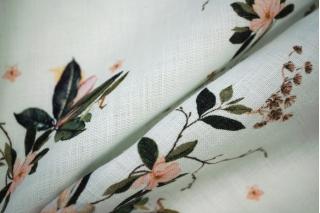 Плательный лен в цветочек PRT1-C3 20031911