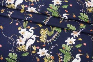 Твил плательный цветы и птицы на темно-синем PRT1-F3 24031912