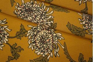 Креповая вискоза цветы на горчичном фоне LEO-H4 08051901