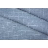 Хлопок рубашечный со льном в клетку бело-голубой PRT-B2 01051932