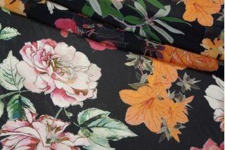 Шифон вискозный цветы на черном Severi Darling PRT-F6 21031917