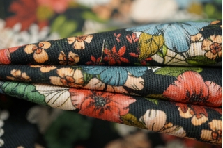 Плательная джинса цветы PRT 068-C6 24031925