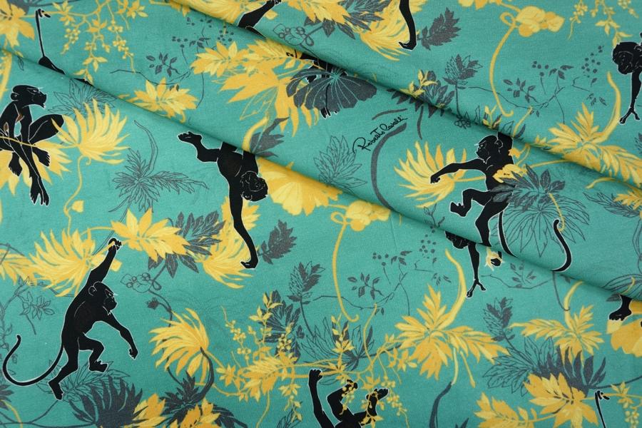 Трикотаж хлопковый цветы и обезьяны Cavalli PRT-D4 28031907