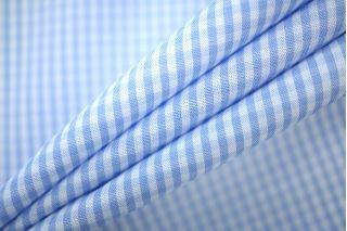 Поплин сорочечный клетка бело-голубая PRT-B3 21051912