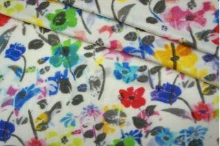 ОТРЕЗ 1 М  Трикотаж вискозный цветы на белом PRT-L3 05051920-1