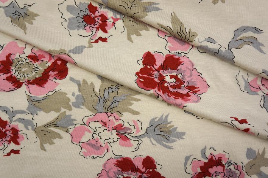 ОТРЕЗ 2.2 М Трикотаж вискозный цветы на бежевом PRT-X5 05051931-1
