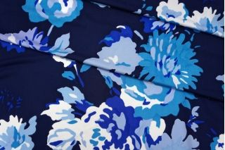 Трикотаж вискозный синие цветы КУПОН PRT-L2 05051932