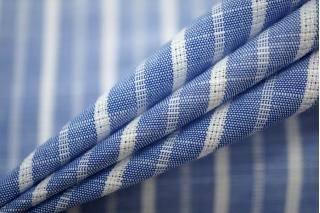 Хлопок рубашечный со льном в полоску бело-голубой PRT-B2 01051907