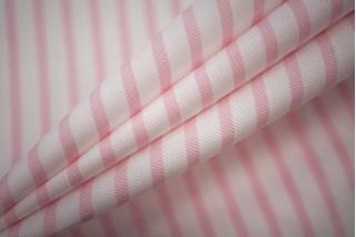 Поплин сорочечный полоска бело-розовая PRT-B3 03051931