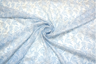 Батист с принтом голубые листья 8021601
