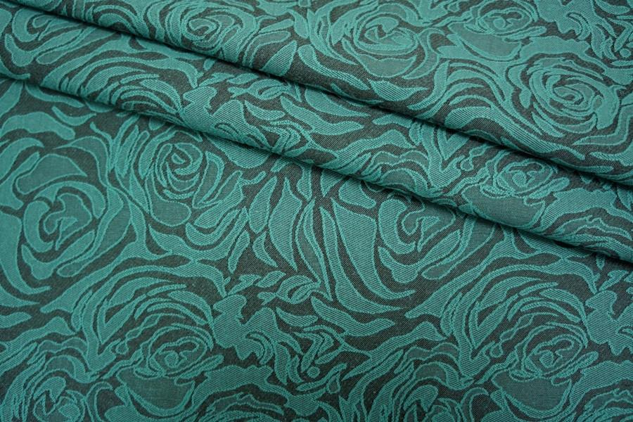 Жаккард цветы черно-бирюзовый LT1-J4 2211608
