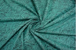Жаккард цветы черно-бирюзовый1 2211608