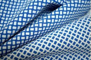 Жаккард-стрейч двусторонний синий-белый LT 14111613