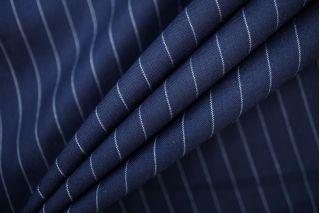 Костюмная шерсть с кашемиром темно-синяя в полоску Super 120S PRT-E3 22081914