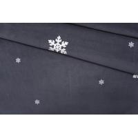 Вельвет хлопковый серый в снежинку PRT-A2 28111937