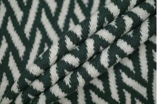 Трикотаж шерстяной зигзаг бело-зеленый PRT-E7 28101913