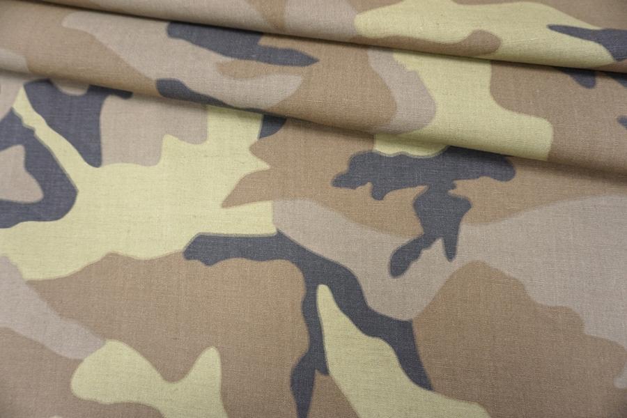 Костюмный лен с хлопком милитари PRT- C2 03091905