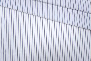 Поплин рубашечный белый в голубую полоску PRT 08091915