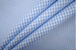 Хлопок рубашечный клетка бело-голубая PRT-B3 15101905
