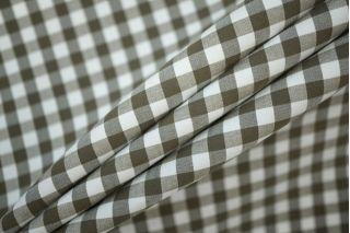 Поплин рубашечный клетка бело-оливковая PRT-W3 01091933