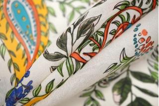 Шифон вискозный цветы-пейсли на белом PRT-H3 09121935