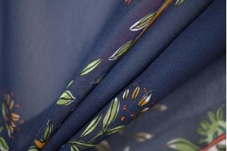 Шифон вискозный цветы на синем PRT-H3 09121936