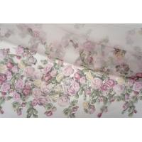 ОТРЕЗ 1,4 М Шелковая органза цветы PRT-(35)- 20121905-6