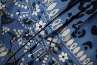 Крепдешин тонкий с бордюрным принтом сине-голубой PRT-G2 28081907
