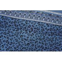 ОТРЕЗ 2,4 М Крепдешин тонкий с бордюрным принтом сине-голубой PRT-(33)- 28081907-1