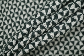 Трикотаж шерстяной геометрия бело-зеленый PRT-E6 28101912