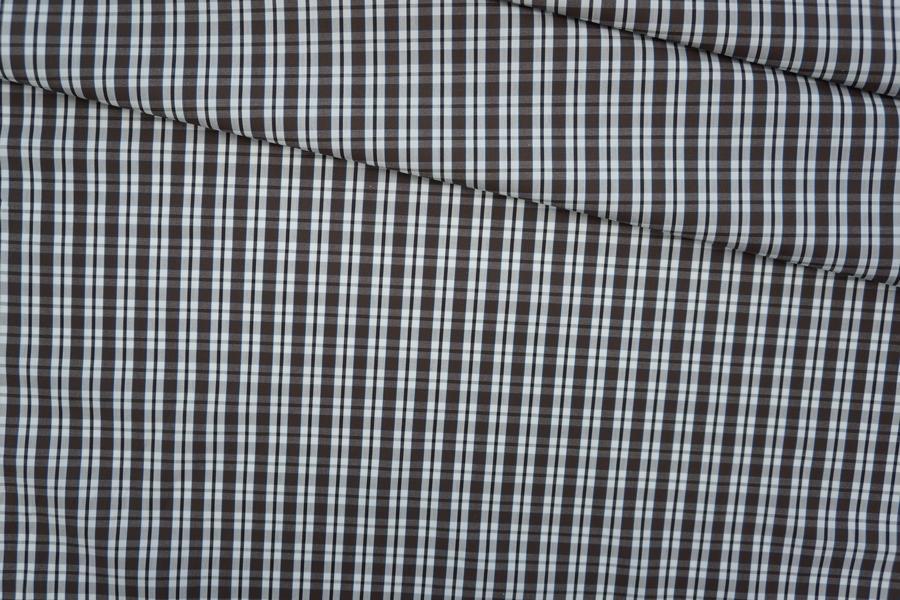 Поплин рубашечный клетка коричнево-белая PRT-F5 19081909