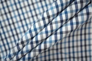 Поплин плотный рубашечный клетка черно-сине-белая PRT-B2 19081910