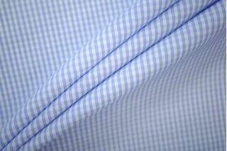 Поплин рубашечный клетка бело-голубая PRT-B3 19081912