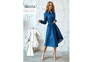 Платье-рубашка с воланом Виола р-ры 42-48 D-019