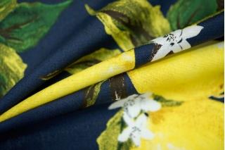 Хлопок поплин лимоны на темно-синем BLP 19041710
