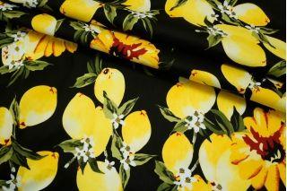 Хлопок стрейч лимоны на черном BLP 19041734
