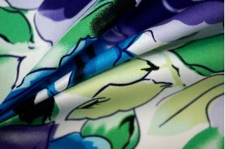 Хлопок стрейч синие цветы на белом BLP 19041709